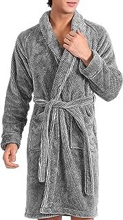 Men's Fleece Robe Ultra Soft Plush Shawl Collar 3/4 Length Long Bathrobe