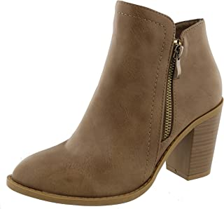TOP Moda Women's Closed Round Toe Zipper Chunky Stacked Block Heel Ankle Bootie (6 B(M) US, Khaki)