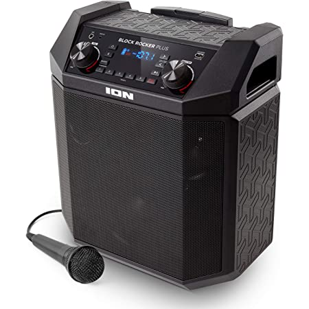ION Audio Block Rocker Plus - Enceinte Bluetooth 100W, Batterie Rechargeable, Radio, Entrée Aux, Microphone, Roulettes et Poignée Télescopique, Câble et Port USB pour Smartphones et Tablettes
