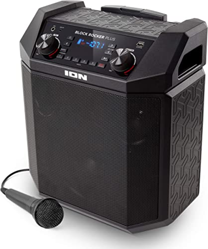 ION Audio Block Rocker Plus | 100W Portable Speaker, Battery Powered with Bluetooth, Microphone & Cable, AM/FM Radio,...