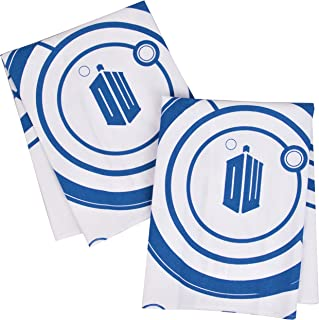 Doctor Who Kitchen Towels 100% Cotton Set of 2 - Perfect Oven Door Hanging Hand Towels - Dr. Who TARDIS Logo and Gallifreyan Design - Size 18