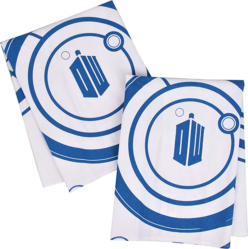 Doctor Who Kitchen Towels 100 Cotton Set Of 2 Perfect Oven Door Hanging Hand Towels Dr Who TARDIS Logo And Gallifreyan Design Size 18 X 24