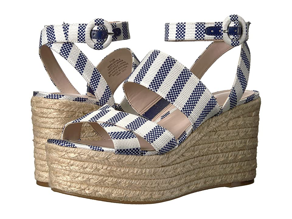 Nine West Kushala Espadrille Wedge Sandal (Dark Blue/Off-White Fabric) Women