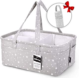 StarHug Baby Diaper Caddy Organizer - Baby Shower Gift Basket   Large Nursery Storage Bin for Changing Table   Car Travel Tote Bag   Newborn Registry Must Have   Bonus Bottle Cooler