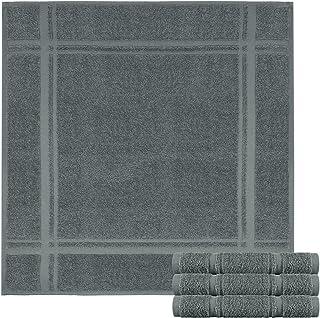 Lashuma 4er Pack Geschirrtücher Graphite Grau - Frottee Trockentücher 50 x 50 cm - Saugstarke Spültücher aus 100% Baumwolle