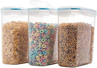 Komax Biokips Original Airtight Cereal Storage Containers 135.5 Oz 16.9 Cup (3 Pack) - Airtight, 4 Side Locking Lid, BPA Free Cereal Dispenser - Flour, Sugar, Dry Food Storage Containers