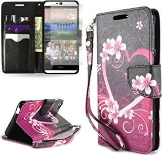HTC Desire 826 Case, Flip Stand Wallet [CoverON Carryall Pouch] Tough Exterior Design [Credit Card ID Cash Holder Slots and Wristlet Strap] Phone Cover Case for HTC Desire 826 - Purple Love Heart