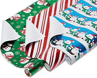 American Greetings Foil Christmas Bulk Gift Wrapping Paper Bundle with Gridlines, 3 Rolls; Santa and Friends, Candy Cane Stripes and Snowmen, 90 Total sq. ft.