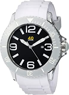 40Nine Men's 40NINE01/WHITE Extra Large 50mm Analog Display Japanese Quartz White Watch