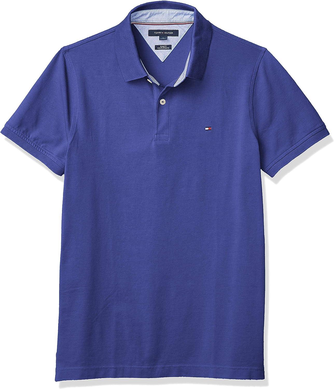 Tommy Hilfiger Men's Short Sleeve Stretch Sacramento Mall Slim Portland Mall Shirt Fit in Polo