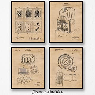 Original Gambling Patent Poster Prints, Set of 4 (8x10) Unframed Photos, Wall Art Decor Gifts Under 20 for Home, Office, Garage, Man Cave, College Student, Teacher, Las Vegas & Casinos Poker Fan
