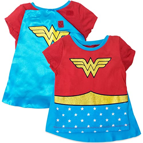 0c27d311 Wonder Woman Girls' Costume Tee Shirt with Cape Red