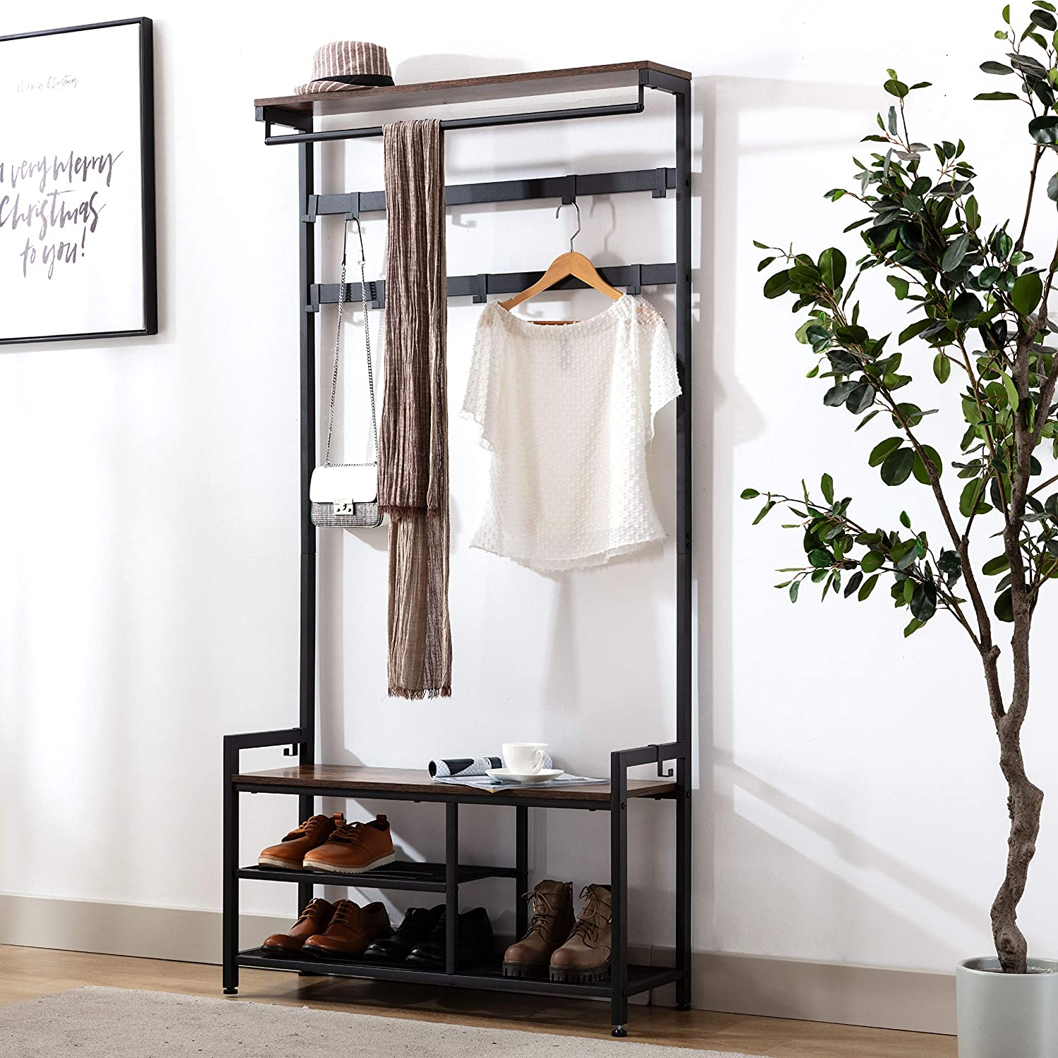 Entryway Storage Shelf Wood Look Accent Furniture with Metal Frame and Hanging Hooks Coat Rack Shoe Bench Industrial Hall Tree