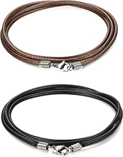 ORAZIO 2 Pcs 3MM Leather Chain Necklace for Men Women Braided Necklace Chain, 20-30 Inches