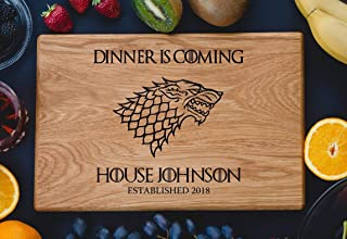 Personalized Cutting Board Dinner is coming Game of thrones House Stark Direwolf Engraved Custom Family chopping Wedding Gift Anniversary Housewarming Birthday game02