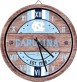 FOCO NCAA North Carolina Tar Heels Team Logo Wood Barrel Wall ClockTeam Logo Wood Barrel Wall Clock, Team Color, One Size