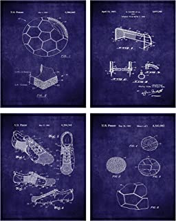 TheNameStore Soccer Patent Print Wall Art - Set of Four Fine Art Photos 8x10 Unframed - Great Gift for Soccer Player Decor (Navy)