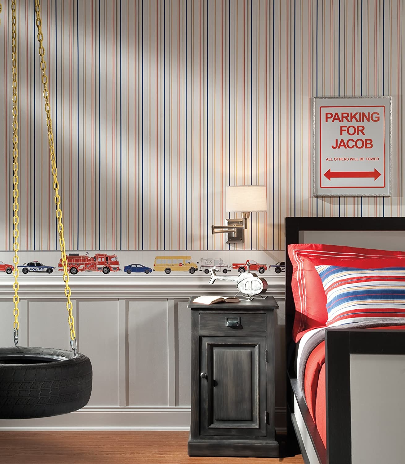 York Wallcoverings Small Main Street Border White//Gray//Bright Red//Bright Yellow//Cobalt Blue//Black