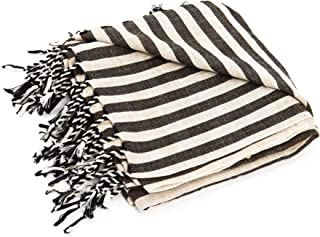 Raven's Landing Turkish Towel, Linen by, 1x2m Large, Handwoven Artisan Hamam Peshtemal, Lightweight, Quick-Drying, Bath Beach or Yoga Perfect - Black Charcoal Stripes