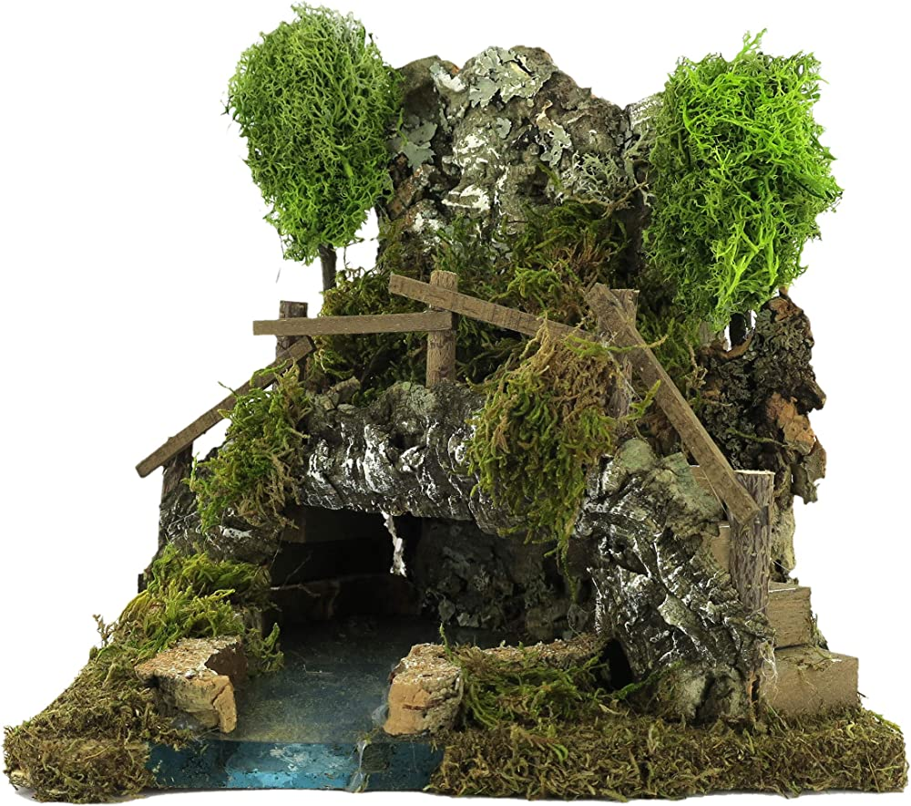 Ferrari & arrighetti per peresepe piccolo lago in una caverna in  legno, sughero, muschio, licheni Bertoni_516
