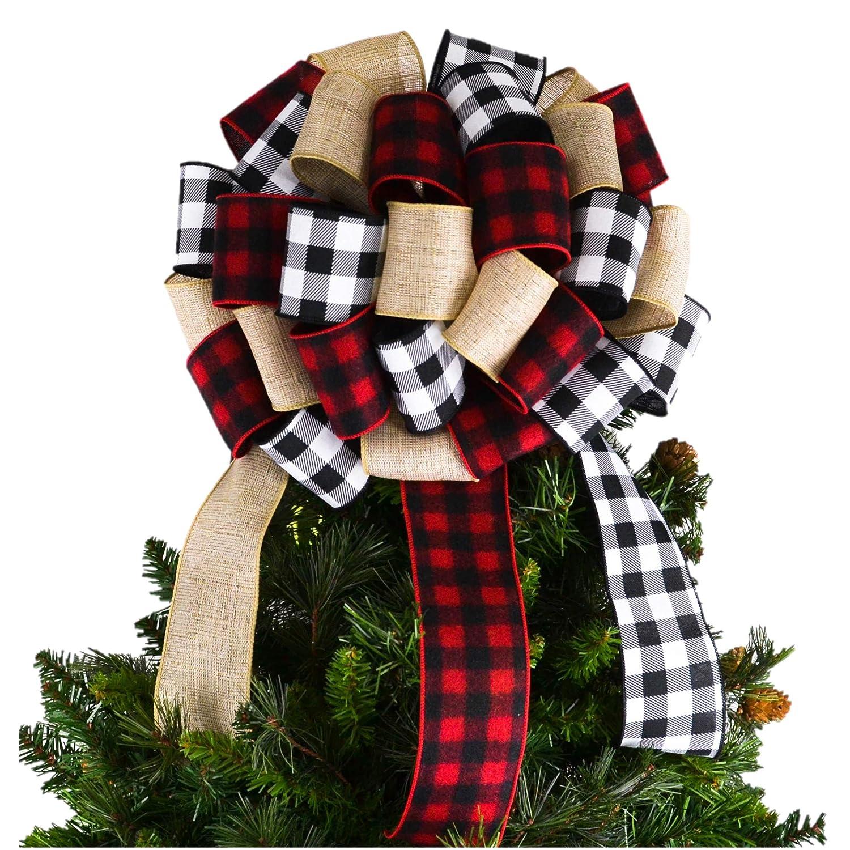 Burlap Buffalo Ranking TOP3 Plaid Check White Bow Black Christmas Red Tree Superlatite
