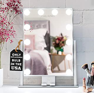 """REBEL POPPY Vanity Mirrors with LED Lights - Phone Mount, 3 Lighting Touch Control, 18.5"""" x 14.8"""", Fogless - Hollywood Lighted Makeup Mirror - Silver"""
