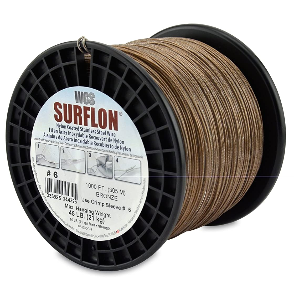 Surflon Size 6-45-Pound Break 1000-Feet Crimping Picture Wire Nylon Coated Stainless Steel, Bronze