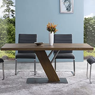 Armen Living Fusion Dining Table with Brown and Brushed Stainless Steel Finish