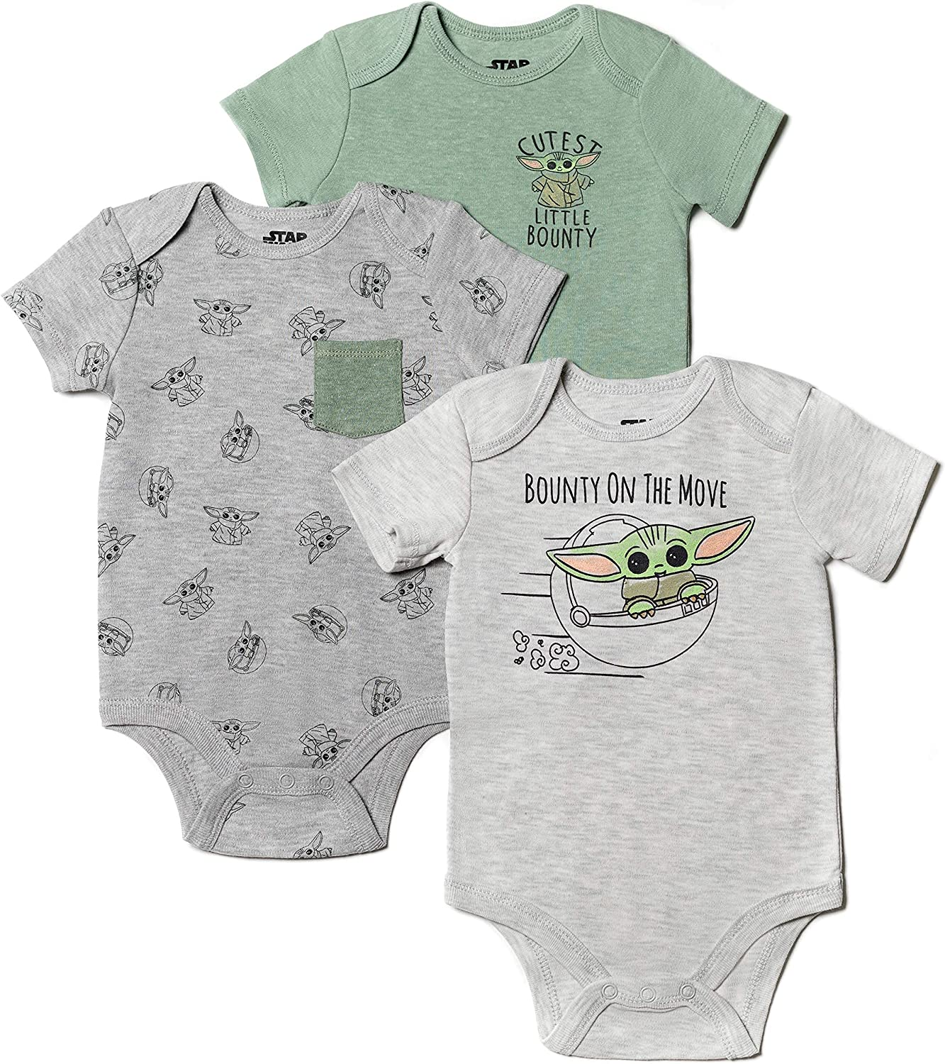 Star Wars Mandalorian The Child Baby Jogger 5 Piece Bodysuit Pants Set Green/Grey: Clothing, Shoes & Jewelry