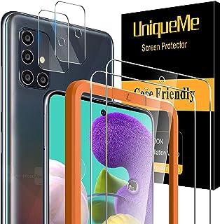 [2+2-pack] UniqueMe kameralinsskydd och skärmskydd för Samsung Galaxy A51 4G/5G härdat glas [enkel installationsram] HD kl...