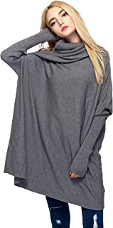 Women Cowl Neck Sweaters Turtleneck Loose Fit Knit Oversized Batwing Long Sleeve Cable Pullover Jumper Dress Top