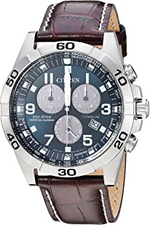 Men's Eco-Drive Titanium Quartz Brown Leather Calfskin Strap Casual Watch (Model: BL5551-06L)