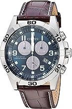 Citizen Men's Eco-Drive Titanium Quartz Brown Leather Calfskin Strap Casual Watch (Model: BL5551-06L)