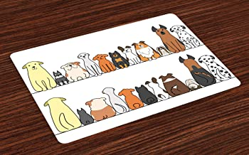 Ambesonne Dog Place Mats Set of 4, Multicultural Dog Family in a Row from Back and Front Views Companionship Comic Art, Washable Fabric Placemats for Dining Room Kitchen Table Decor, Yellow Brown