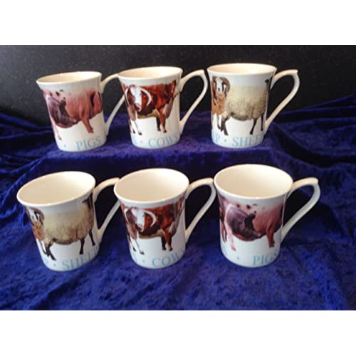 0905028fa65 FINE BONE CHINA SET OF 6 MUGS FARM ANIMALS FREE UK DELIVERY