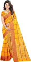 The Fashion Outlets Women's Cotton Silk Manipuri Saree with Blouse (Red Yellow)