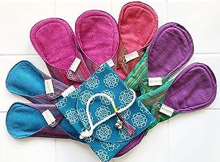 南インド「Eco Femme」布ナプキン 洗えるオーガニックコットン(肌面色付き)-フルサイクルキット(7枚+キャリーポーチ1個付)GOTS認定品