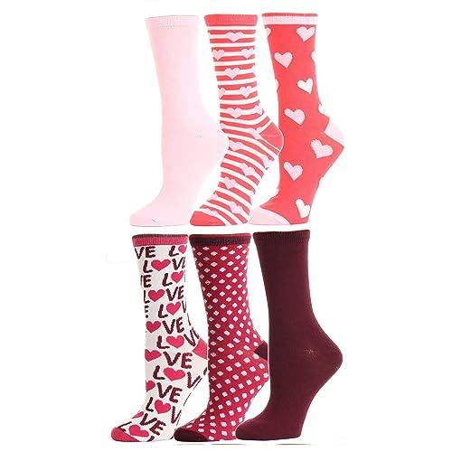 Valentine's Day Soft Crew Socks XOXO Kiss Hug Love Prints, Women's Size 9-11(6 Pairs)