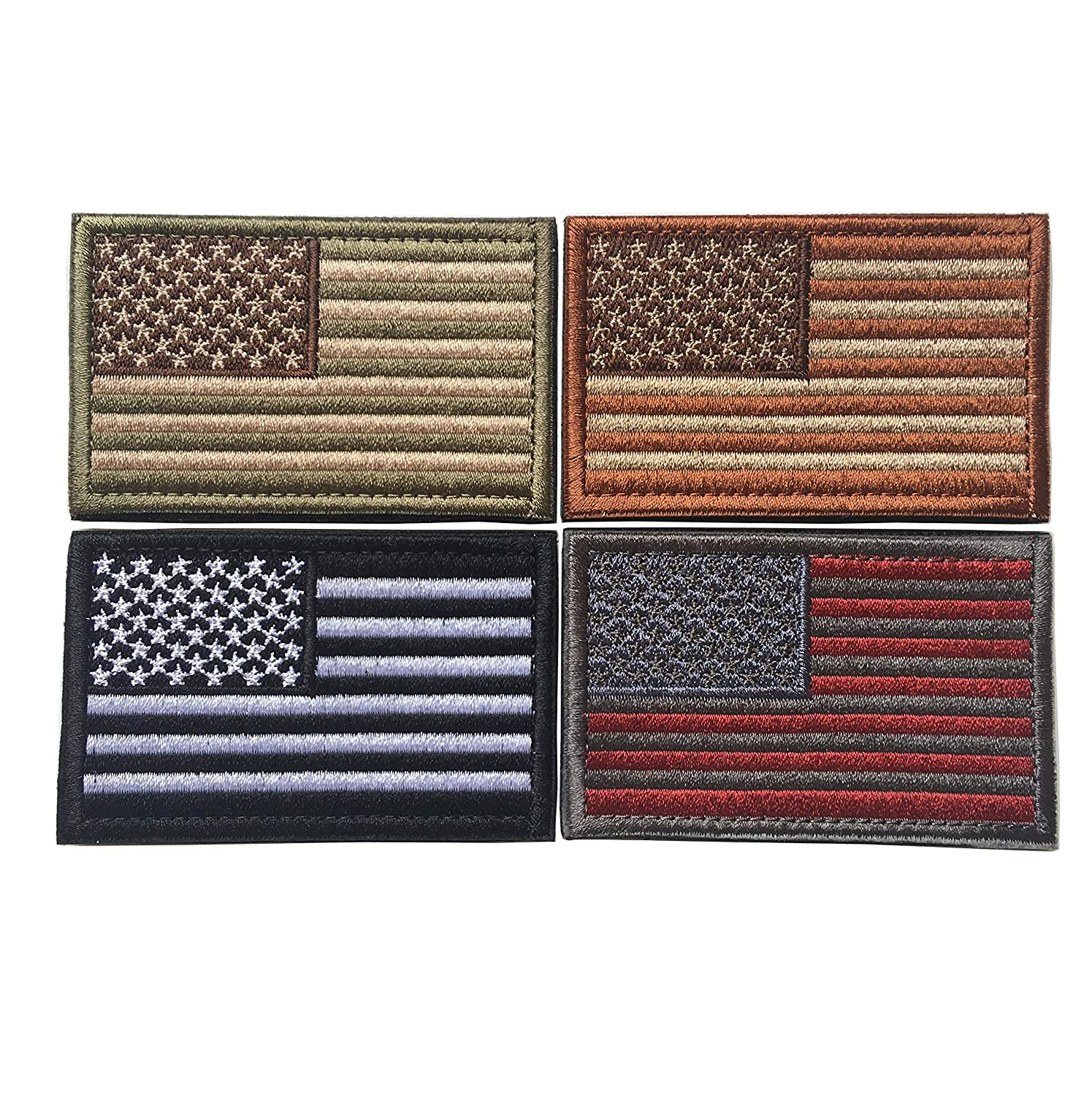 Bundle 4 Pieces USA American Flag Fully Embroidered Tactical Morale Patches - Show Your American Pride on Hats, Backpacks and Uniforms
