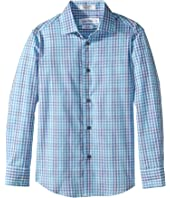 Calvin Klein Kids - Flight Plaid Long Sleeve Shirt (Big Kids)