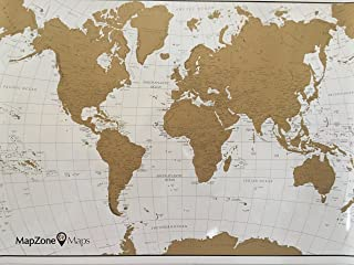 MapZone Maps - Scratch off World Travel Map - White and Gold with USA - Scratch off Tool Included