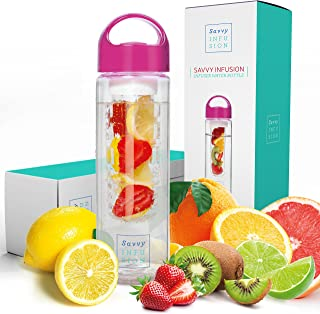 Savvy Infusion Water Bottles – 24 or 32 Ounce Fruit Infuser Bottle –..