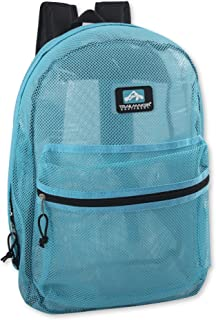 Trailmaker Transparent Mesh Backpack for School, Beach, and Travel, with Padded Shoulder Straps (Light Blue)