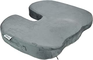 JIDA Orthopedic Comfort Memory Foam Seat Cushion, Non-Skid Bottom, Office Chair Wheelchairs and Car Seat Pads, for Coccyx Lower Back Support, to Relieve Back & Tailbone Pain and Sciatica (Grey)