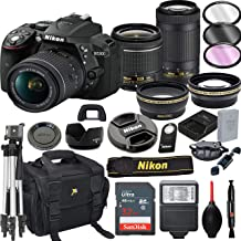 Nikon D5300 DSLR Camera with 18-55mm VR and 70-300mm VR Lenses + 32GB Card, Tripod, Flash, and More (21pc Bundle)
