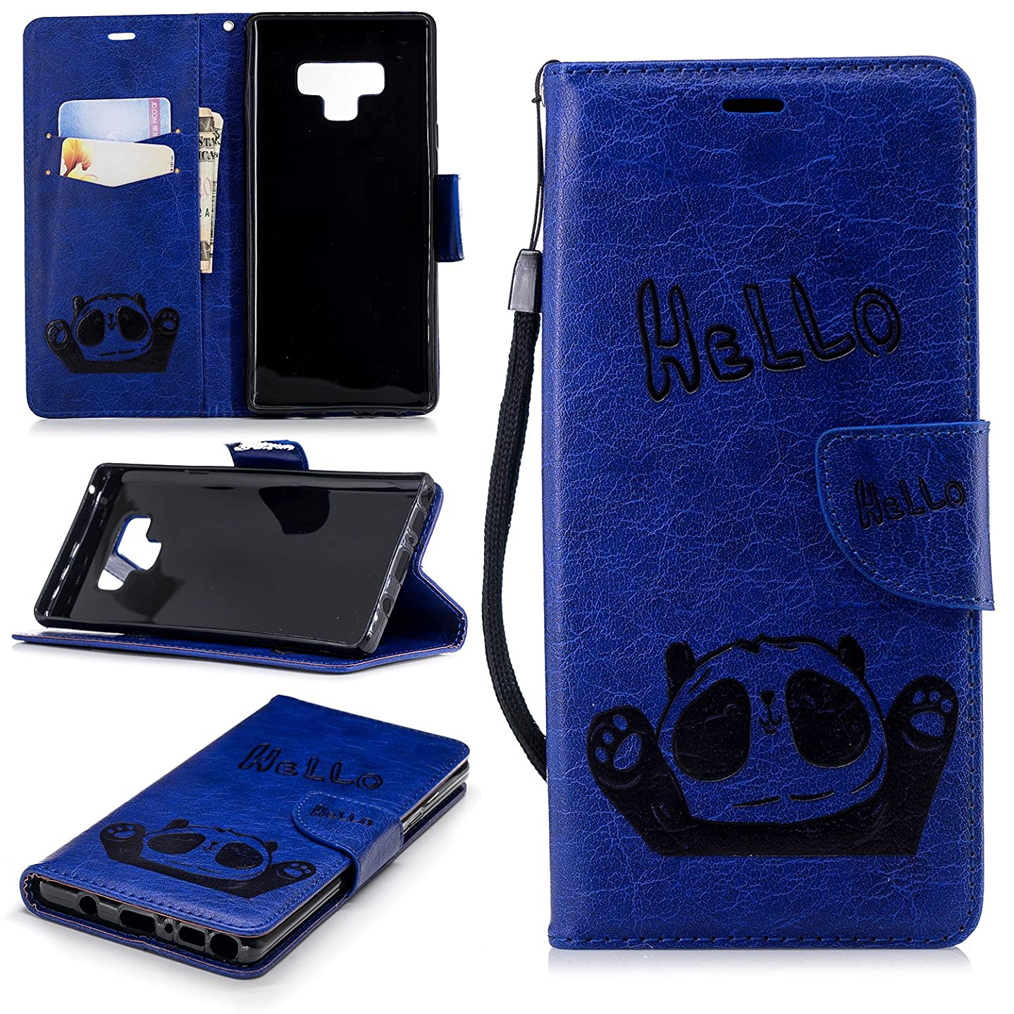 Galaxy Note 9 Case, ZERMU Premium PU Leather Bear Pattern [Wrist Strap] [Kickstand Feature] Flip Folio Leather Wallet Case with ID and Credit Card Pockets for Samsung Galaxy Note 9 6.4