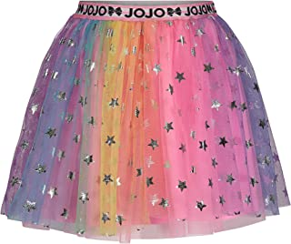 Jojo Siwa Rainbow Big Girls Tulle Mesh Skirt with Elastic Waist and Stars 7/8