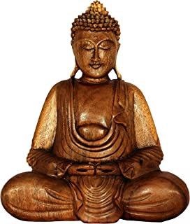 G6 Collection Wooden Serene Sitting Buddha Statue Handmade Meditating Sculpture Figurine Decorative Accent Handcrafted Art Traditional Modern Contemporary Oriental Decor Hands in Lap Buddha (8