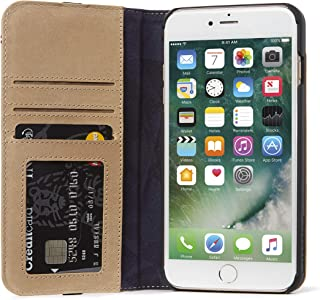 DECODED Wallet Case for iPhone 8 Plus / 7 Plus / 6s Plus / 6 Plus Full-Grain Leather 3 Card Holder (Sahara Brown)