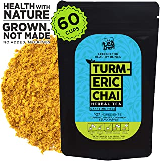 The Tea Trove - Herbal Turmeric Tea Chai   Golden Milk Tea Powder   Superfood blend of Natural Turmeric, Cinnamon, Ginger, Black Pepper for Sleep, Overnight Detox and Joint Support   (2.6oz, 60 Cups)